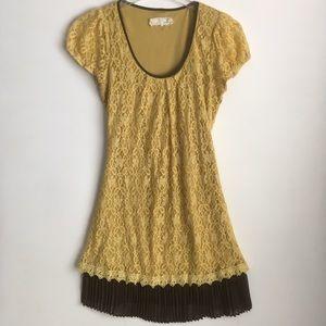 A'reve mustard yellow lace dress brown hem large